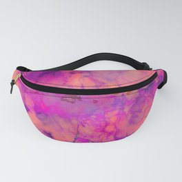 Pop of Color, Pink Marble Abstract, Texture Graphic Design, Eclectic Bohemian Painting Fanny Pack