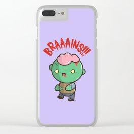 Zombie Kawaii | BRAAAINS!!!! BRAINS!! Halloween Clear iPhone Case