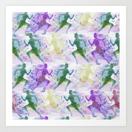 Watercolor women runner pattern Art Print