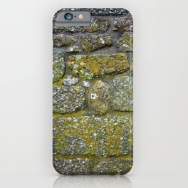 Old granite wall with grey and green colors iPhone Case