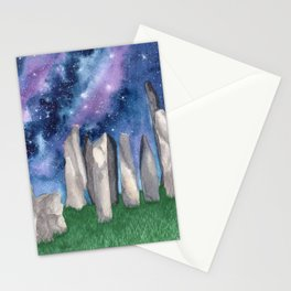 """Purple Galaxy & Callanish Stones"" watercolor landscape painting Stationery Cards"