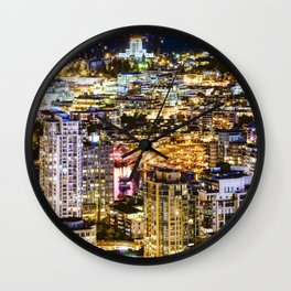 1549 Voyeuristic Vancouver Cityscape NightView over False Creek City Of Lights Canada Wall Clock
