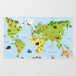Funny cartoon world map with traditional animals of all the continents and oceans Rug