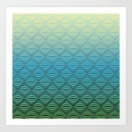 Warp Field (Blue Yellow Green) Art Print