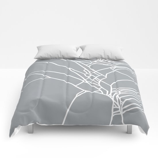 Cracked White on Grey Comforters