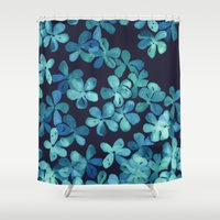 stickers Shower Curtains featuring Hand Painted Floral Pattern in Teal & Navy Blue by micklyn