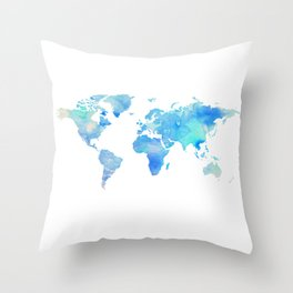 Blue Watercolor World Map Throw Pillow