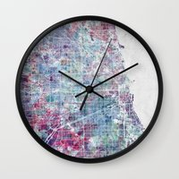 chicago map Wall Clocks featuring Chicago map by MapMapMaps.Watercolors