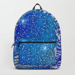 Sparkling Blue & White Peacock Backpack