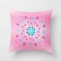 music notes Throw Pillows featuring Music Notes In Pink by HK Chik