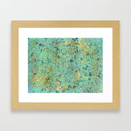 Patina Style Turquoise, Navy, Lime and Aqua with Gold Design Framed Art Print