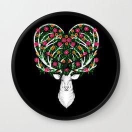 Blooming Deer II Wall Clock