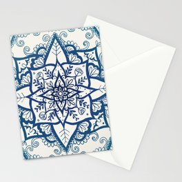Blue Floral Pattern on Cream Stationery Cards