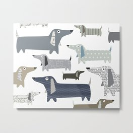 Wiener Dog Pattern Metal Print