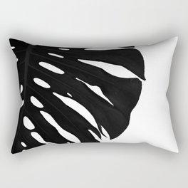 Black Banana Leaf (Black and White) Rectangular Pillow