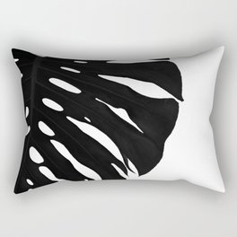 Black Banana Leaf (Black and White) Rectangular Pillow
