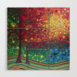 Winter sunset dot art by Mandalaole Wood Wall Art