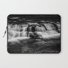 Welsh Waterfall in black and white Laptop Sleeve