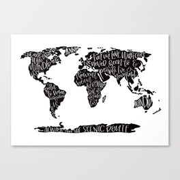 Travel quote map Canvas Print