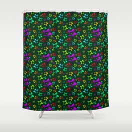 Pattern of cheerful children's shimmering stars on a green background. Shower Curtain