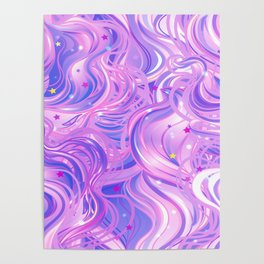 Pink & Purple Waves in the Stars Poster