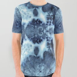 Tie-Dye Damask Blue All Over Graphic Tee