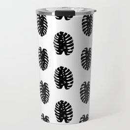 Linocut Monstera leaf cute black and white abstract children trendy illustration lino printmaking Travel Mug