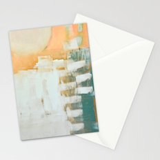abstract, orange and green Stationery Cards