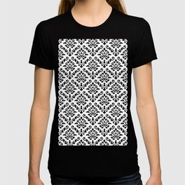 Damask Baroque Repeat Pattern Black on White T-shirt
