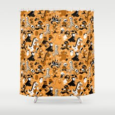 Monster March (Orange) Shower Curtain