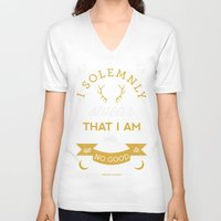 marauders V-neck T-shirts featuring Marauder's Map by Dorothy Leigh