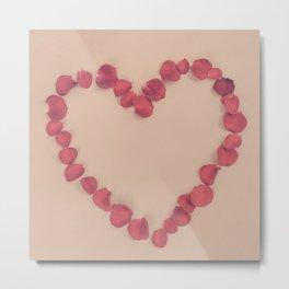 Rose Petal Heart Metal Print