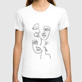 Line Art Faces T-shirt