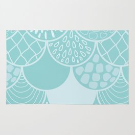 Abstract blue scales doodle vector repeating pattern Rug