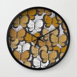 Golden butterflies Wall Clock