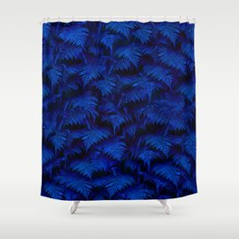 Deep Blue Fern Plant Wall Shower Curtain