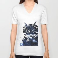 kitty V-neck T-shirts featuring kitty by Cat Milchard