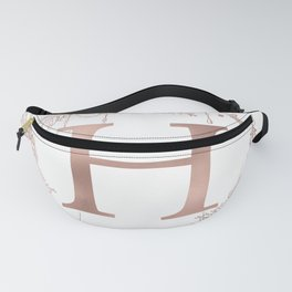 Letter H Rose Gold Pink Initial Monogram Fanny Pack