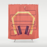 headphones Shower Curtains featuring Headphones in Sunset by Christine Soules