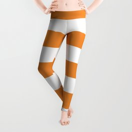 Cadmium orange - solid color - white stripes pattern Leggings