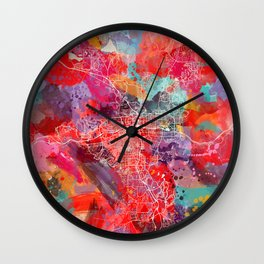 Reno map Nevada painting 2 Wall Clock