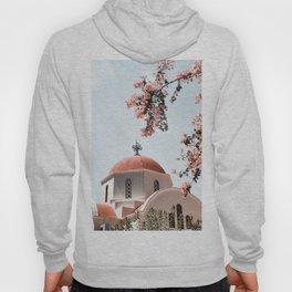 Greek White Church | Pink Flowers | Crete, Greece Photo | Travel Photography Hoody