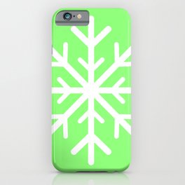 Snowflake (White & Light Green) iPhone Case