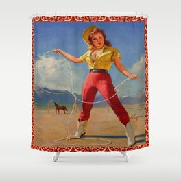 Vintage Cowgirl With Rope Shower Curtain