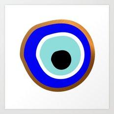 Grecian Gold evil eye in blue on white Art Print