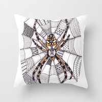 spider Throw Pillows featuring Spider by Laura Maxwell