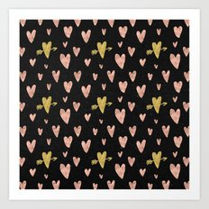 Valentines Day Rose Gold Hearts with Yellow Gold Pattern on Black Art Print