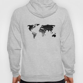 World Map Space Stars Black and White Hoody