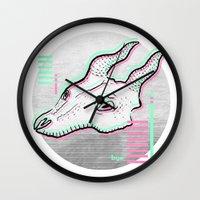 glitch Wall Clocks featuring Glitch by Sonia Lazo