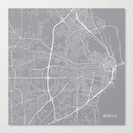 Mobile Map, Alabama USA - Pewter Canvas Print